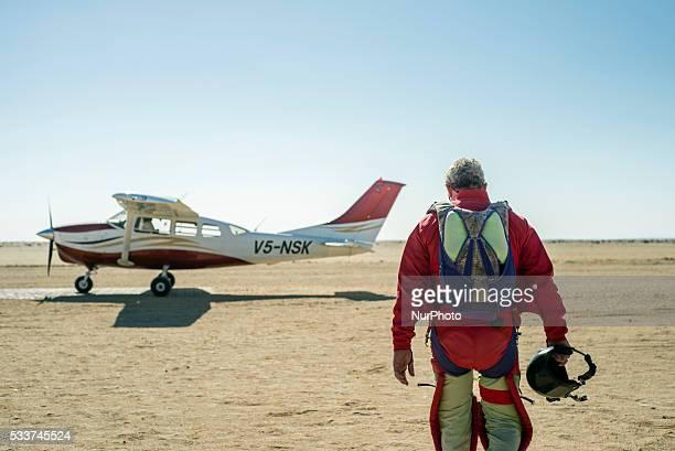 Skydiver walking to the plane Swakopmund Namibia