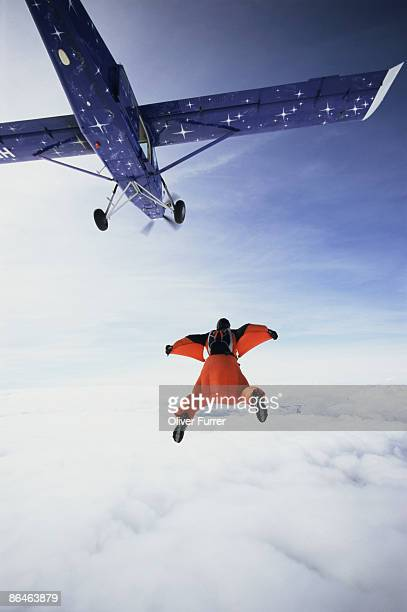 Skydiver wearing wingsuit