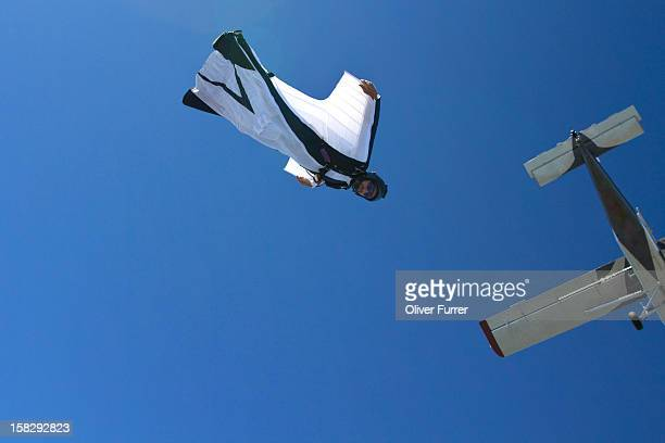 Skydiver with wingsuit in flight