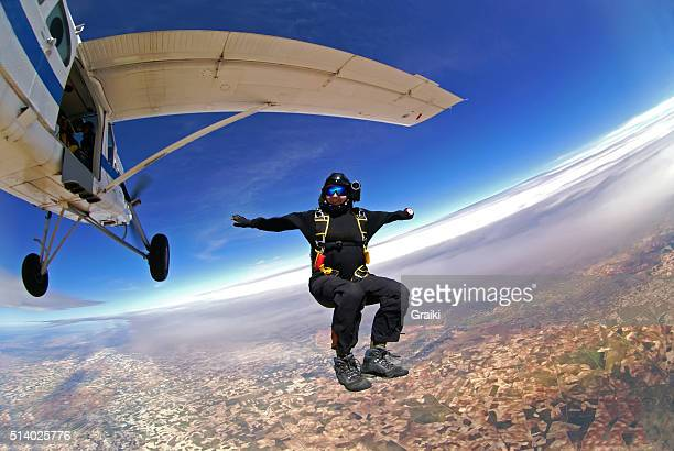 Skydiver woman out of plane