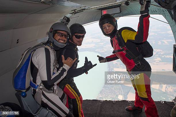 Skydivers are having fun together before the jump