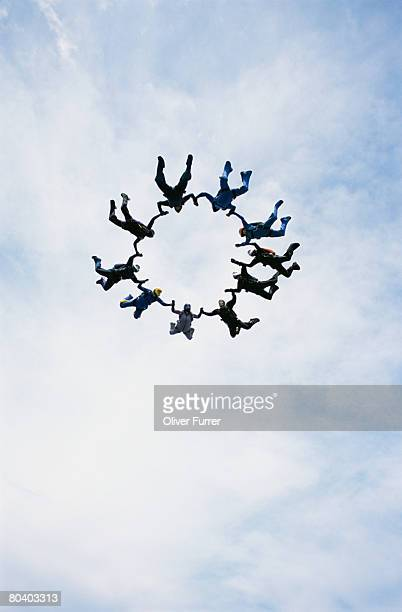 Skydivers freefalling in formation