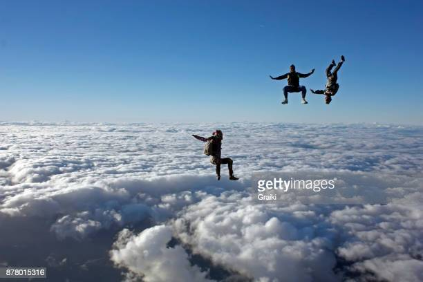 Skydivers having fun beautiful sky