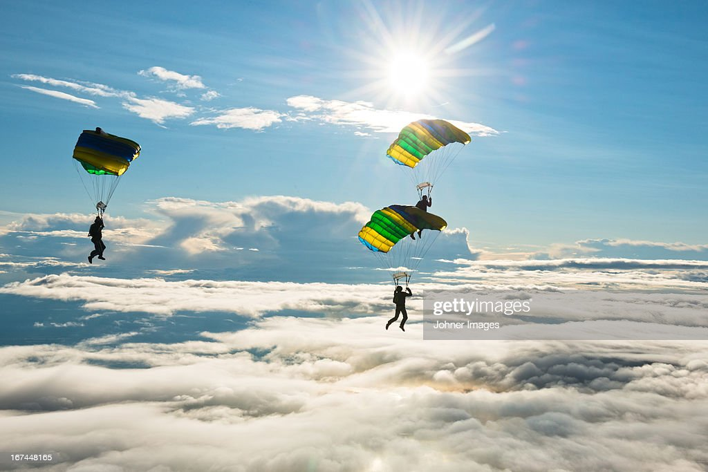 Skydivers in mid-air : Stock Photo