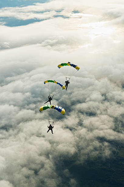 Skydivers In Mid-air Wall Art