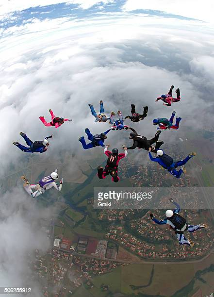 Skydiving building a formation
