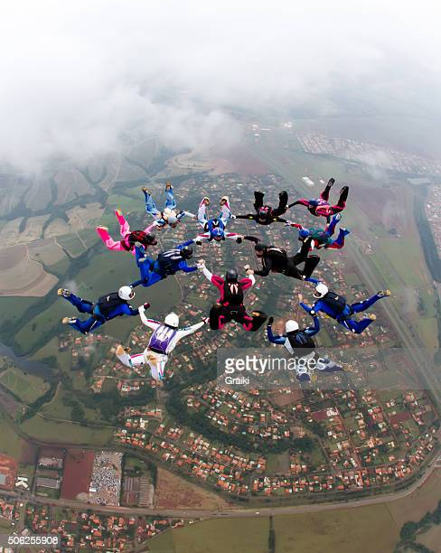 Skydiving formation colorful