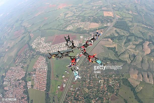 Skydiving friends celebration