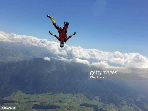 this skydiver is head down flying