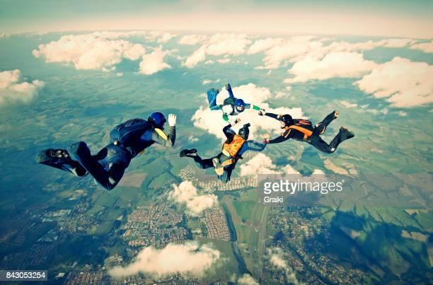 Skydiving group having fun