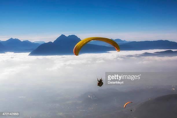 skydiving in blue sky