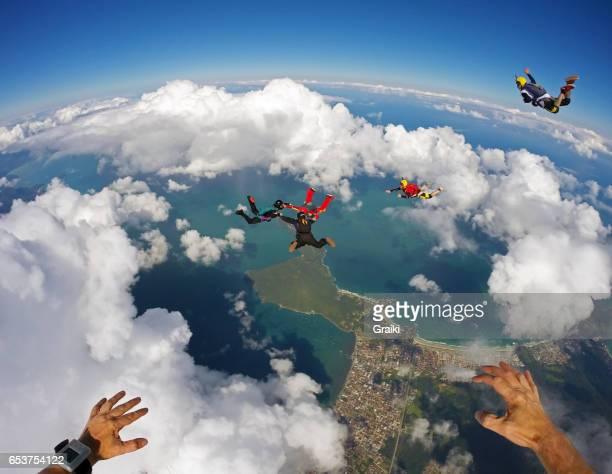 Skydiving pov above the beach