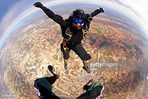 Skydiving smiling woman