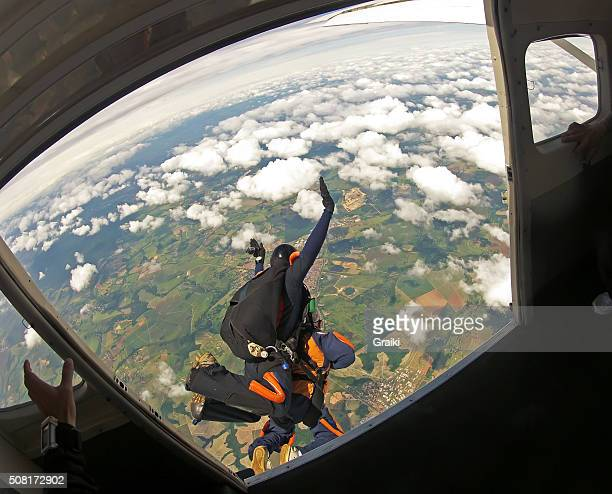 Skydiving tandem exit point of view