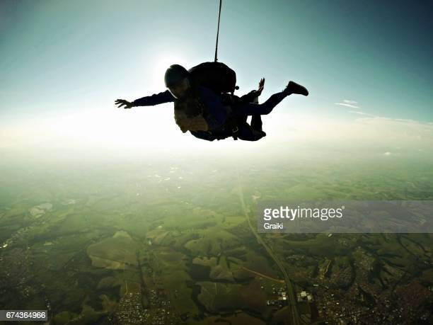 Skydiving tandem silhouette effect