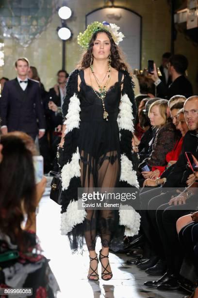 Skye Hallam walks the Dolce Gabbana Italian Christmas catwalk show at Harrods on November 2 2017 in London England