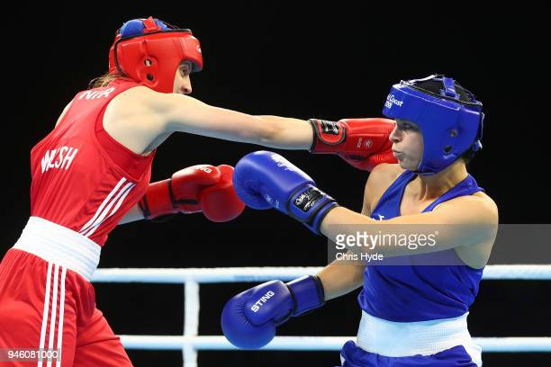 Skye Nicolson of Australia and Michaela Walsh of Northern Ireland compete in the Women's 57kg Final Boutduring Boxing on day 10 of the Gold Coast...