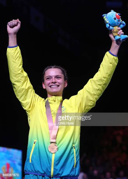 Skye Nicolson of Australia celebrates winning the Gold medal against Michaela Walsh of Northern Ireland in the Women's 57kg Final BoutBoxing on day...