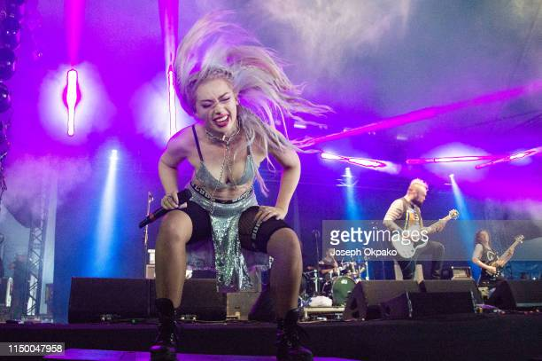 Skye Sweetnam of Sumo Cyco performs on stage during Download festival 2019 at Donington Park on June 14 2019 in Castle Donington England