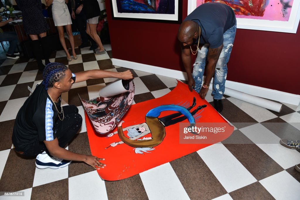 Skyer Grey and Holman Arthurs attend Avant Gallery Celebrates 10th Anniversary With The First Breakfast At LaMuse Cafe During Art Basel on December 7, 2017 in Miami, Florida.