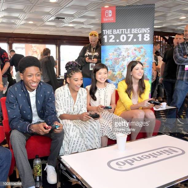 Skylan Brooks Amandla Stenberg Miya Cech and Alexandra Bracken put their gaming skills to the test playing Mario Kart 8 Deluxe on Nintendo Switch at...