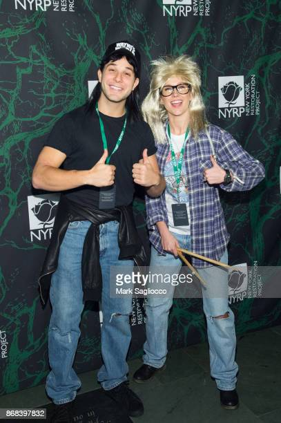 Skylar Astin and Anna Camp attend the Bette Midler's 2017 Hulaween Event Benefiting The New York Restoration Project at Cathedral of St John the...