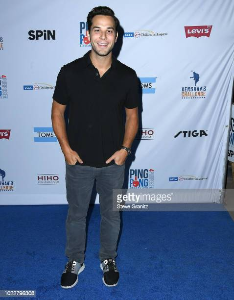 Skylar Astin arrives at the 6th Annual PingPong4Purpose at Dodger Stadium on August 23 2018 in Los Angeles California