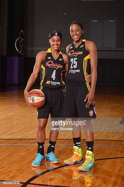 Skylar Diggins and Glory Johnson of the Tulsa Shock poses for a portrait prior to the 2014 Boost Mobile WNBA AllStar Game on July 19 2014 at US...