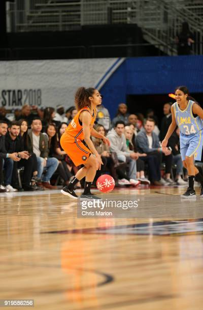 Skylar Diggins of the Dallas Wings dribbles during the 2018 NBA Cares Unified Basketball Game as part of 2018 NBA AllStar Weekend on February 17 2018...