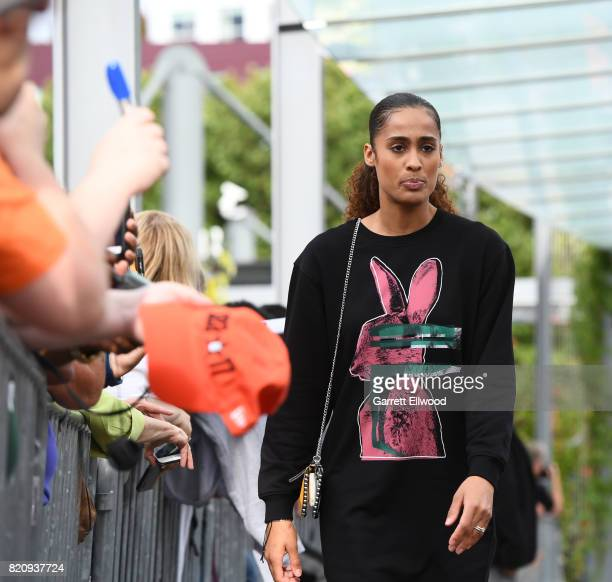 Skylar Diggins of the Tulsa Shock walks during the WNBA AllStar Welcome Reception Presented by Visit Seattle as part of the 2017 WNBA AllStar Weekend...