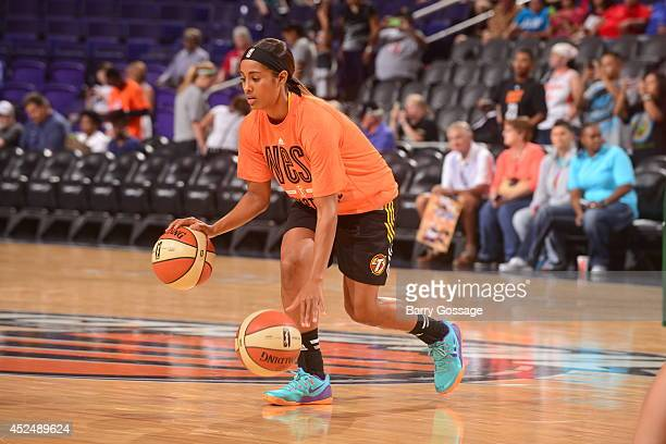 Skylar Diggins of the Western Conference AllStars dribbles prior to the 2014 Boost Mobile WNBA AllStar Game on July 19 2014 at US Airways Center in...