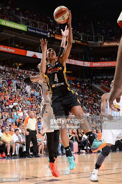 Skylar Diggins of the Western Conference AllStars shoots during the 2014 Boost Mobile WNBA AllStar Game on July 19 2014 at US Airways Center in...