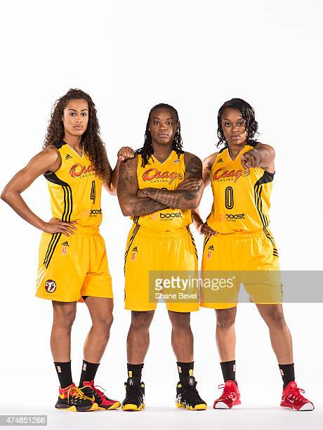 Skylar Diggins Riquna Williams and Odyssey Sims of the Tulsa Shock pose for portraits during Media Day on May 26 2015 at the BOK Center in Tulsa...