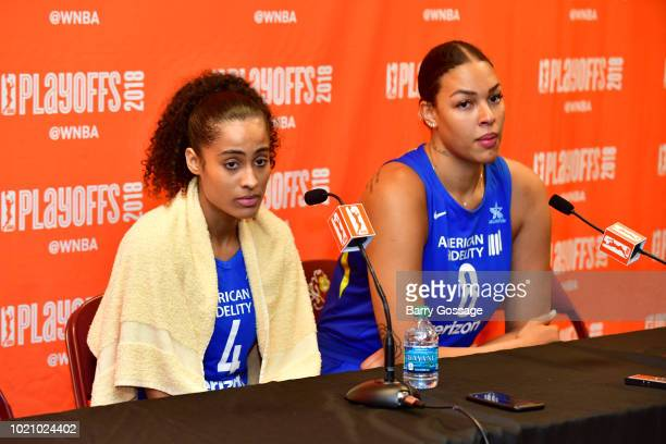 Skylar DigginsSmith and Elizabeth Cambage of the Dallas Wings speak with the media after the game against the Phoenix Mercury in Round One of the...