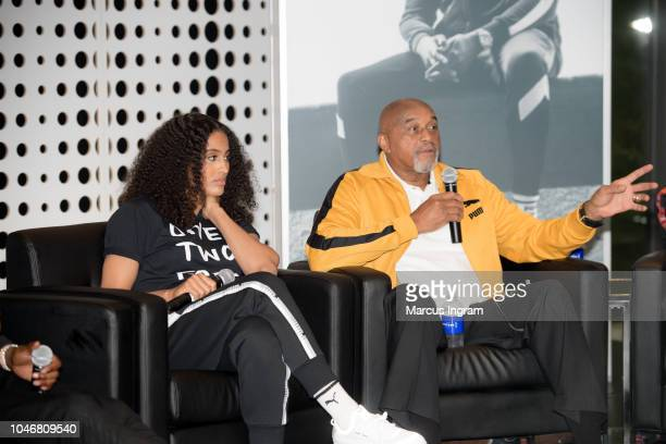 Skylar DigginsSmith and Tommie Smith speak on stage during the QA Puma   Reform Lanuch at 4cacdcbc6