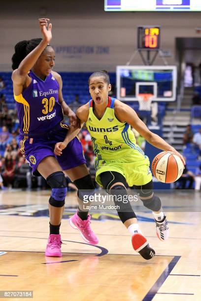 Skylar DigginsSmith of the Dallas Wings drives to the basket against Nneka Ogwumike of the Los Angeles Sparks during a WNBA game on August 6 2017 at...