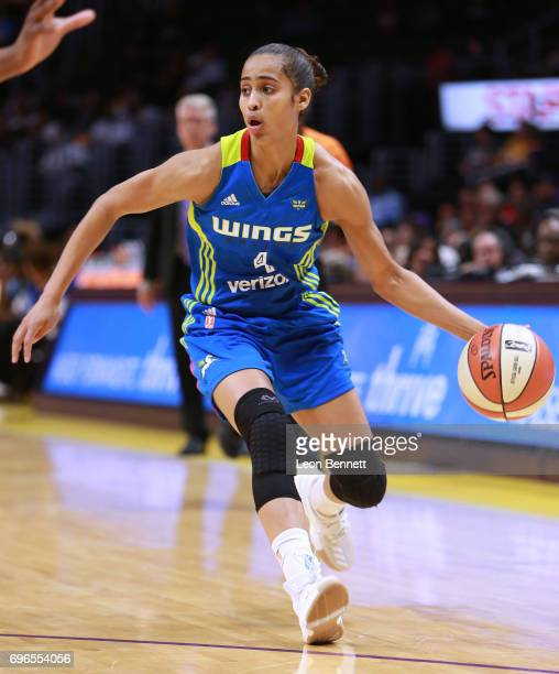 Skylar DigginsSmith of the Dallas Wings handles the ball against the Los Angeles Sparks during a WNBA basketball game at Staples Center on June 13...