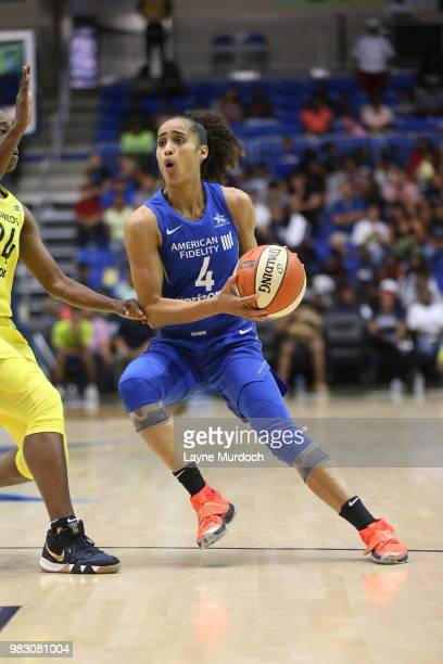Skylar DigginsSmith of the Dallas Wings handles the ball against the Seattle Storm on June 24 2018 at College Park Center in Arlington Texas NOTE TO...