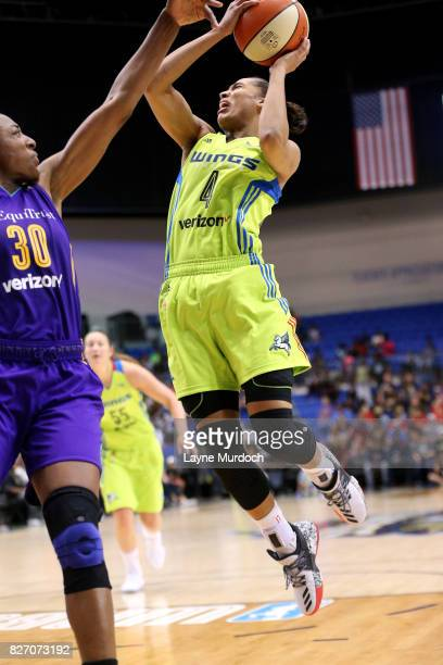 Skylar DigginsSmith of the Dallas Wings shoots the ball against Nneka Ogwumike of the Los Angeles Sparks during a WNBA game on August 6 2017 at...