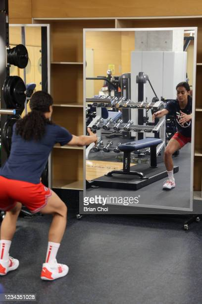 Skylar Diggins-Smith of the USA Women's National Team warms up during the USA Basketball Womens National Team practice on July 29, 2021 in Tokyo,...
