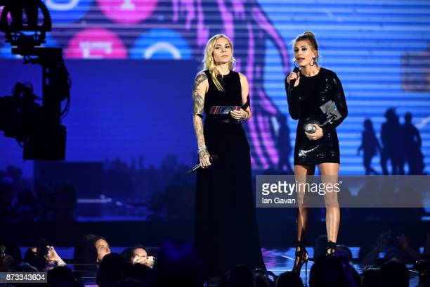 Skylar Grey and Hailey Baldwin present the award for Best Video on stage during the MTV EMAs 2017 held at The SSE Arena Wembley on November 12 2017...
