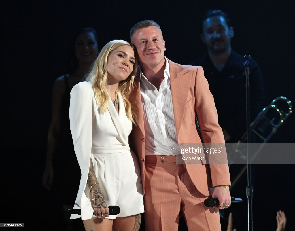 Skylar Grey (L) and Macklemore perform onstage during the 2017 American Music Awards at Microsoft Theater on November 19, 2017 in Los Angeles, California.
