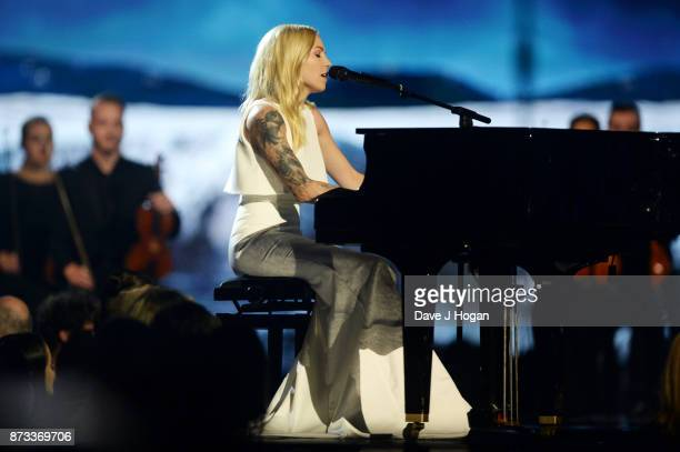 Skylar Grey performs on stage during the MTV EMAs 2017 held at The SSE Arena Wembley on November 12 2017 in London England