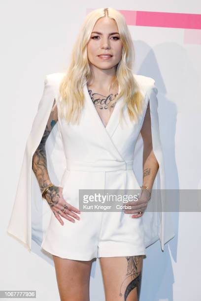 Skylar Grey poses in the press room at the 2017 American Music Awards at Microsoft Theater on November 19 2017 in Los Angeles California United States