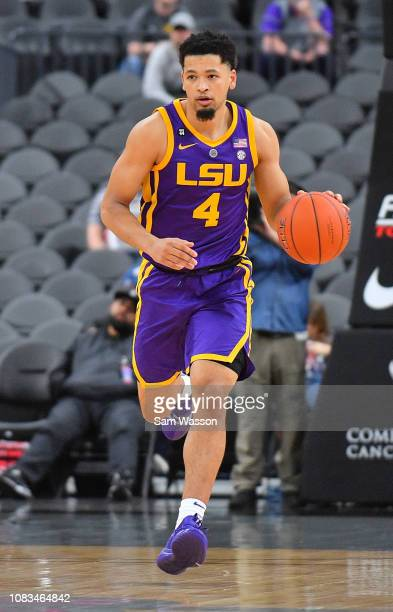 Skylar Mays of the LSU Tigers dribbles against the Saint Mary's Gaels during their game at TMobile Arena on December 15 2018 in Las Vegas Nevada LSU...