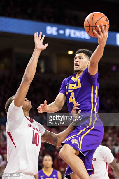 Skylar Mays of the LSU Tigers goes up for a shot against Daniel Gafford of the Arkansas Razorbacks at Bud Walton Arena on January 10 2018 in...