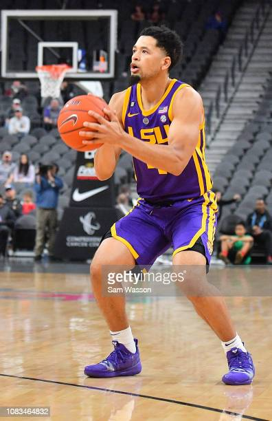 Skylar Mays of the LSU Tigers shoots against the Saint Mary's Gaels during their game at TMobile Arena on December 15 2018 in Las Vegas Nevada LSU...