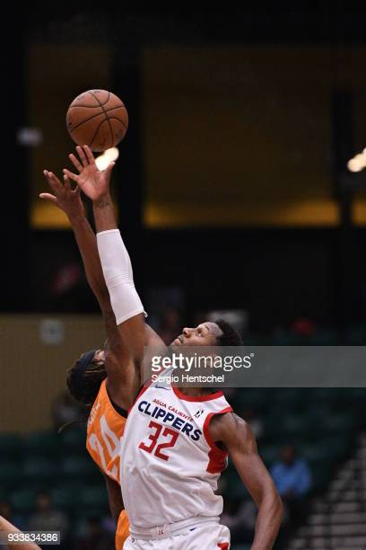 Skylar Spencer of the Agua Caliente Clippers goes for the jump ball against the Texas Legends on March 18 2018 at the Dr Pepper Arena in Frisco Texas...