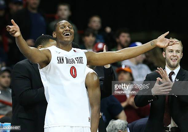 Skylar Spencer of the San Diego State Aztecs celebrates their 63 to 44 win over the North Dakota State Bison during the Third Round of the 2014 NCAA...