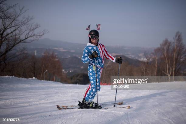TOPSHOT Skylar Weaver of the US poses for a portrait on a slope of the Yongpyong ski resort near the venues of the Pyeongchang Winter Olympic games...